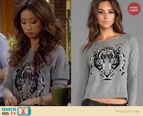 Autumn Cashmere Leopard Sweater worn by Brenda Song on Dads