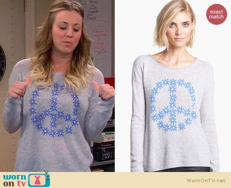 Autumn Cashmere Peace Sweater worn by Kaley Cuoco on The Big Bang Theory