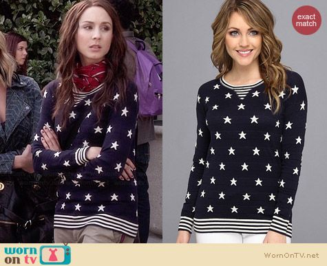 Autumn Cashmere Stars and Stripes Sweater worn by Troian Bellisario on PLL
