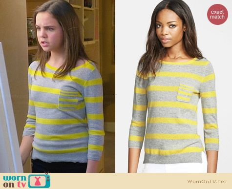 Autumn Cashmere Striped Fog/Citronella Sweater worn by Bailee Madison on Trophy Wife
