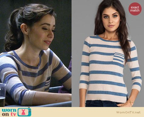 Autumn Cashmere Striped Sweater in Biscotti Combo worn by Cristin Milioti on HIMYM