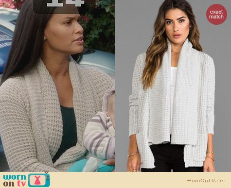 Autumn Cashmere Textured Drape Cardigan worn by Joy Bryant on Parenthood