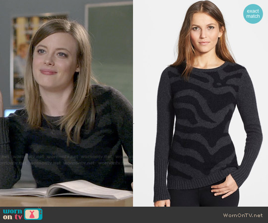 Autumn Cashmere Zebra Intarsia Sweater worn by Gillian Jacobs on Community