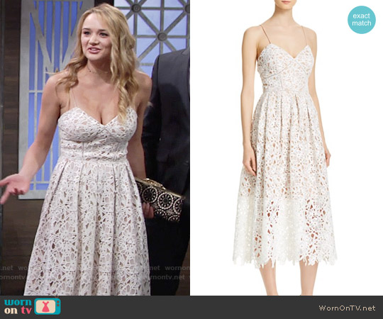 Avery G Lace Tea-Length Dress worn by Hunter King on The Young & the Restless