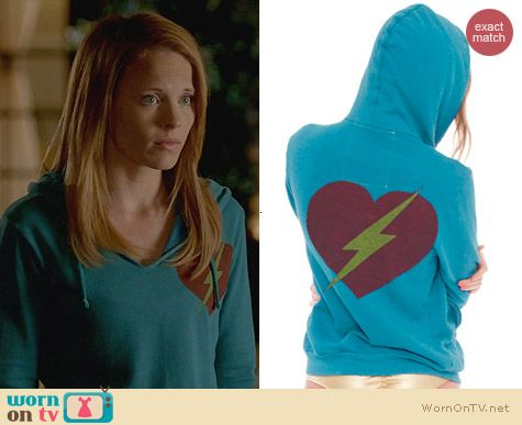 Aviator Nation Bolt Heart Hoodie worn by Katie Leclerc on Switched at Birth