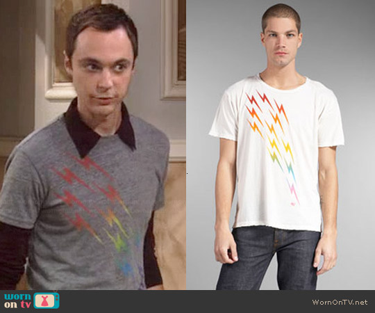 Aviator Nation Rainbow Bolt Tee worn by Sheldon Cooper on The Big Bang Theory