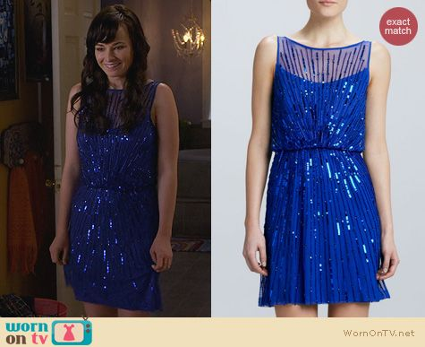 Fashion of Awkward: Aidan Mattox Blue Sequin Cocktail Dress worn by Ashley Rickards