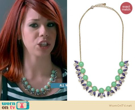Awkward Fashion: Bauble Bar Mint beaded bloom necklace worn by Jillian Rose Reed