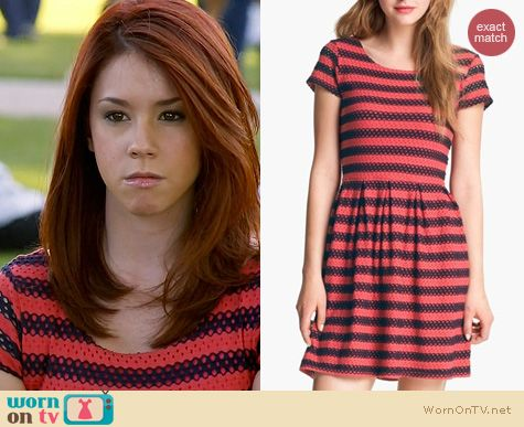 Fashion of Awkward: Eight Sixty eyelet stripe dress worn by