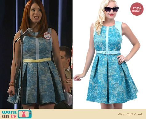 Awkward Fashion: Eva Franco Blue Floral Tweed Leather Dress worn by Jillian Rose Reed