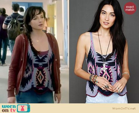 Awkward Fashion: Free People Pop Color patterned tank worn by Ashley Rickards