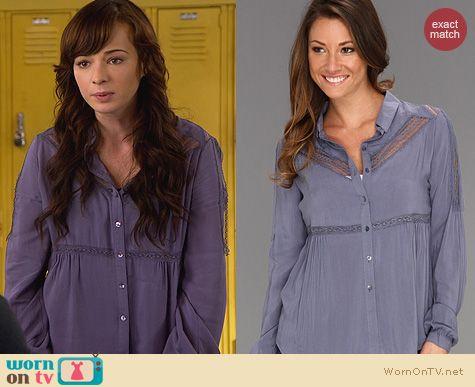 Fashion of Awkward: Free People Wild Wind Button Up worn by Ashley Rickards