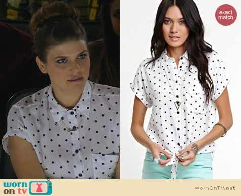 Awkawrd Fashion: Kirra Short Sleeve Tie Front Shirt worn by Molly Tarlov