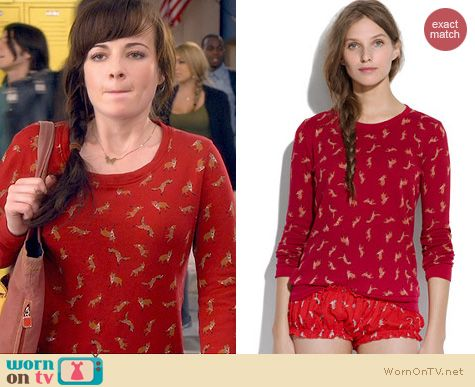 Awkward Fashion: Madewell Fox Print Sweatshirt worn by Ashley Rickards
