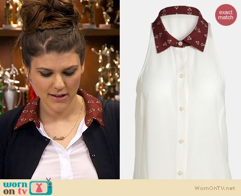 Fashion of Awkward: WAYF Print Collar Chiffon Tunic worn by Molly Tarlov