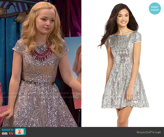 B Darlin Cap Sleeve Sequined Dress in Silver worn by Dove Cameron on Liv & Maddie