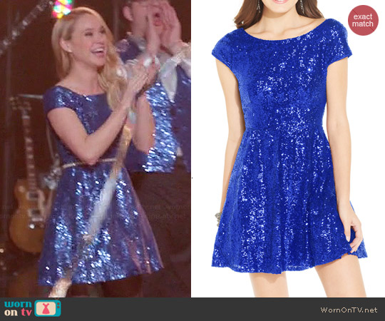 B Darlin Cap Sleeve Sequin Dress worn by Becca Tobin on Glee