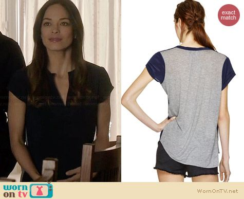 Babaton Phillip T-Shirt in Royal Navy/H. Grey worn by Kristin Kreuk on BATB