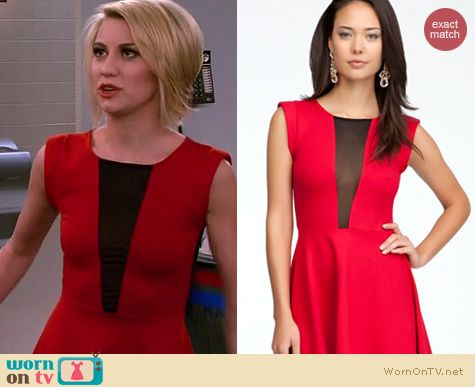 Baby Daddy Fashion: Bebe Fit and Flare sheer back dress worn by Chelsea Kane