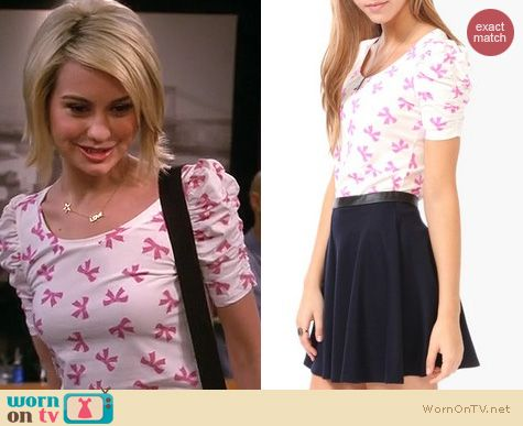 Baby Daddy Fashion: Forever 21 Bow print top in pink worn by Chelsea Kane