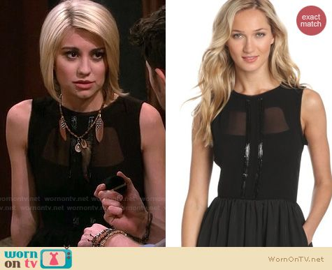 Baby Daddy Fashion: Jessica Simpson Black mesh overlay dress worn by Chelsea Kane