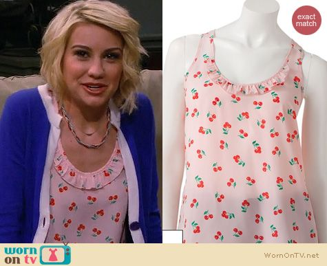 Baby Daddy Fashion: Kohls Candie's Ruffled Racerback Tank in cherry print worn by Chelsea Kane