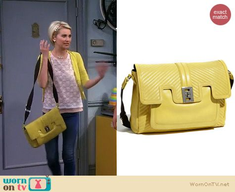 Baby Daddy Fashion: L.A.M.B Saratoga Vernon Messenger Bag in yellow worn by Chelsea Kane