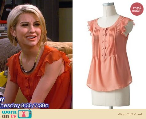 Baby Daddy Fashion: LC Lauren Conrad Bow Chiffon top with ruffled sleeves worn by Chelsea Kane