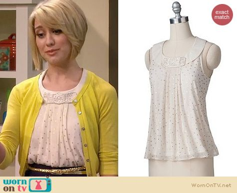 Baby Daddy Style: LC Lauren Conrad Polka dot foil top worn by Chelsea Kane