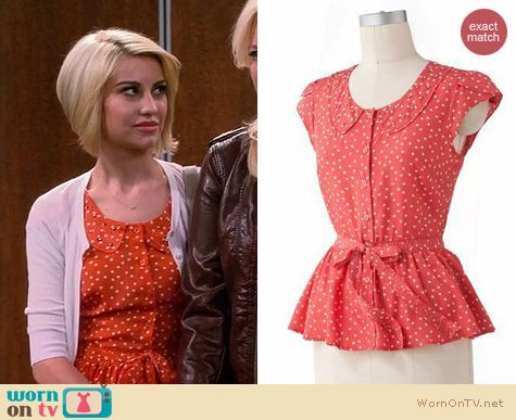 Baby Daddy Fashion: LC Lauren Conrad Polka dot peplum top worn by Chelsea Kane