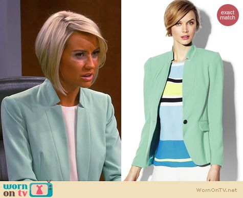 Baby Daddy Fashion: Vince Camuto Inverted Notch Blazer in New Mint worn by Chelsea Kane