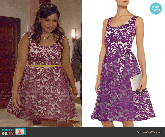 Badgley Mischka Embroidered Organza Dress worn by Mindy Kaling on The Mindy Project