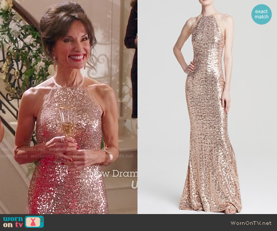 Badgley Mischka Sequin Halter Gown worn by Susan Lucci on Devious Maids