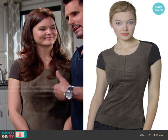 Bailey 44 Chick Flick Suede Top worn by Heather Tom on The Bold & the Beautiful