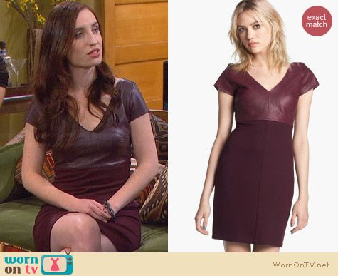 Bailey 44 Dante Faux Leather Dress in Port worn by Zoe Lister Jones on FWBL