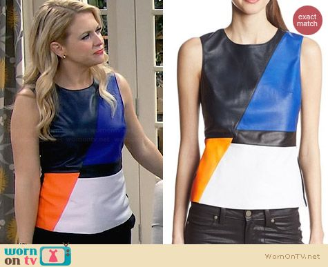 Bailey 44 Dribble Colorblock Top worn by Melissa Joan Hart on Melissa & Joey