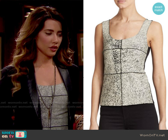 Bailey 44 Giallo Printed Leather Tank Top worn by Jacqueline MacInnes Wood on The Bold & the Beautiful