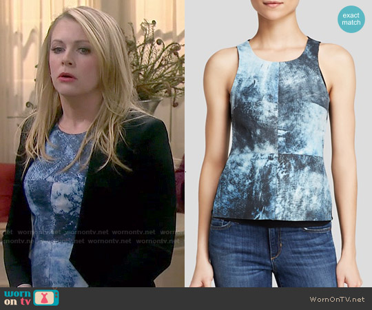 Bailey 44 Reef Print Leather Top worn by Melissa Joan Hart on Melissa & Joey
