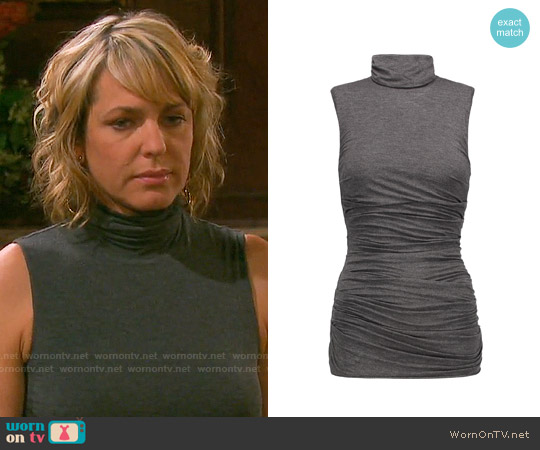 Bailey 44 Ruched stretch-jersey turtleneck top worn by Arianne Zucker on Days of our Lives