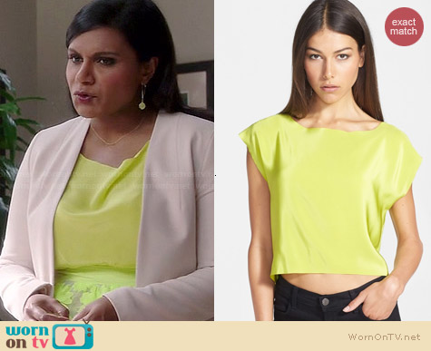 Bailey 44 Third Rail Silk Crepe Top worn by Mindy Kaling on The Mindy Project