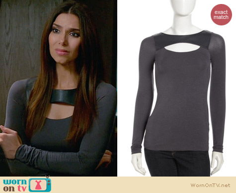 Bailey 44 Touch Screen Leather Cutout Top worn by Roselyn Sanchez on Devious Maids
