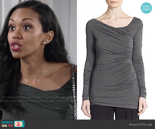 Bailey 44 Try Them Knit Top in Mercury worn by Mishael Morgan on The Young & the Restless