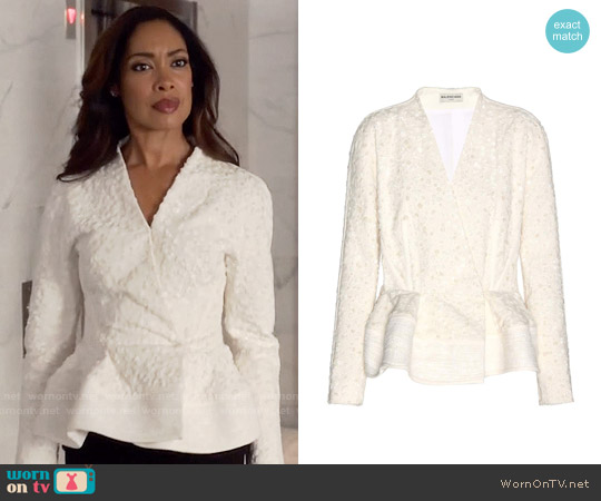 Balenciaga Fil coupé cotton-blend jacket worn by Gina Torres on Suits