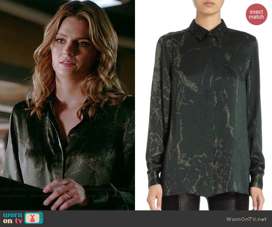 Balenciaga Marble Print Blouse worn by Stana Katic on Castle