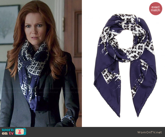 Balenciaga Printed Silk Scarf worn by Darby Stanchfield on Scandal