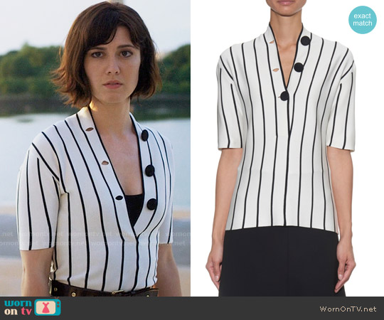 Balenciaga V-neck Striped Silk-Knit Blouse worn by Mary Elizabeth Winstead on BrainDead