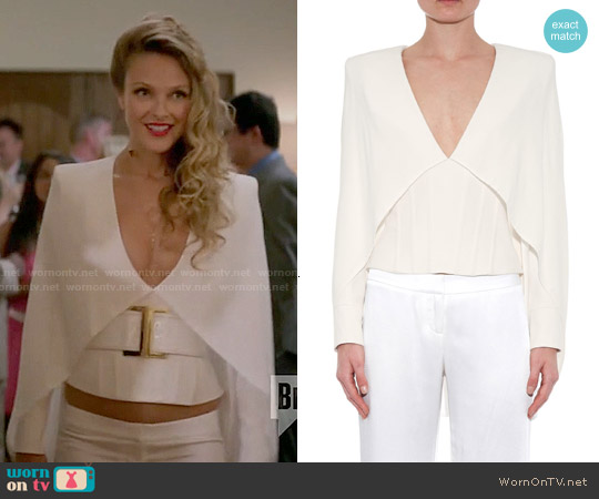 Balmain Cape Overlay Cady Top worn by Beau Garrett on GG2D