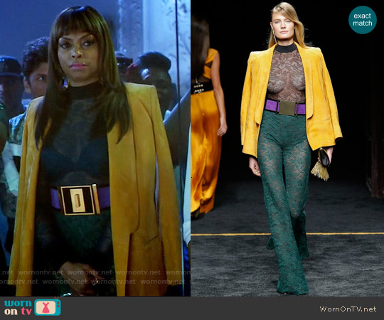 Balmain 2015 Collection Lace Jumpsuit and Yellow Suede Jacket worn by Taraji P. Henson on Empire