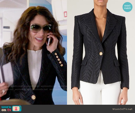 Balmain Jacquard Blazer worn by Lisa Edelstein on GG2D