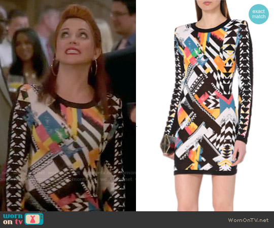 Balmain Navajo Print Dress worn by Alanna Ubach on GG2D